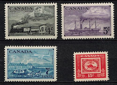 Canada 311-14 Centenary postal admin train plane steamship stagecoach MNH 1951