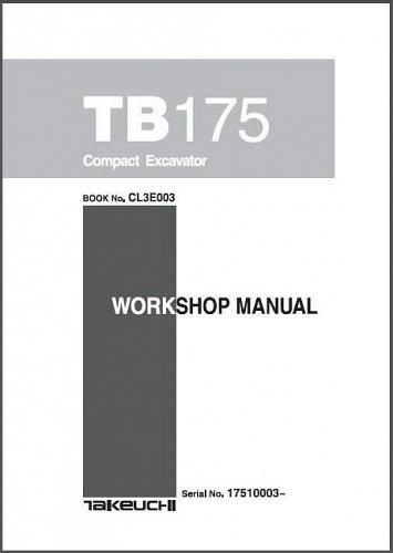 Takeuchi TB175 Compact Excavator Service Manual on a CD