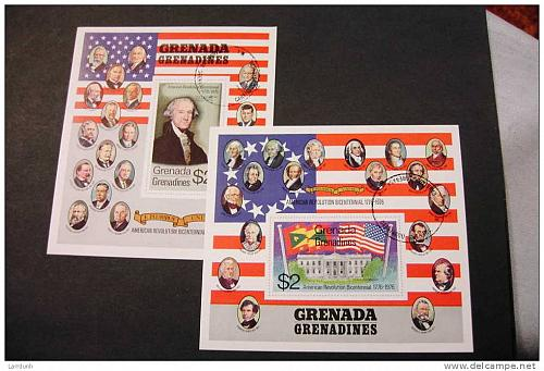 Grenada Grenadines 99a 100a cancelled Wahington White House Presidents US bicentennia