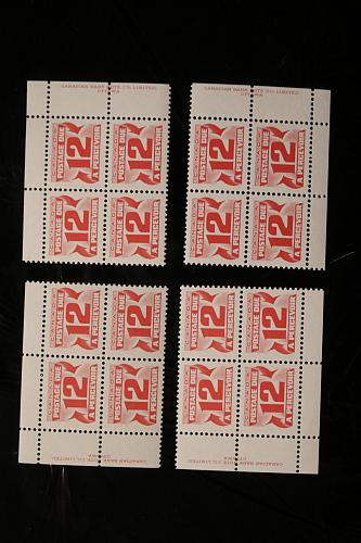 Canada J36a postage dues imprint set blocks of four MNH 1977-78