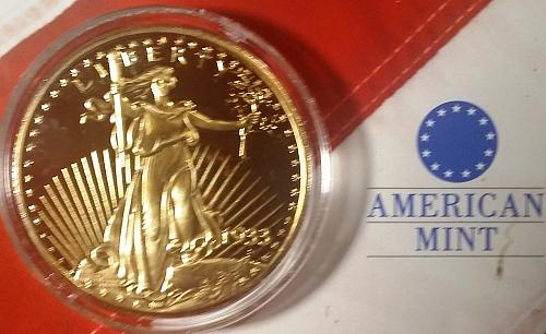 1933 Historical Gold Double Eagle COMMEMORATIVE PROOF - American Mint - Replica