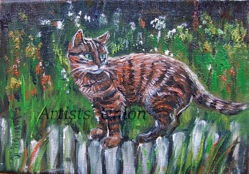 Cat Kitty Original Oil Painting Impasto Animal Art Palette Knife Garden Flowers Linen