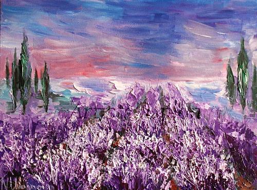 Lavender Fields Original Oil Painting Landscape Purple Flower Fine Art Meadow Impasto