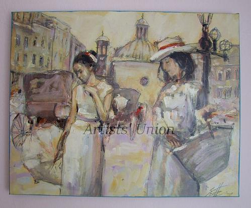 Cityscape Women Original Oil Painting Old Town Figurative Art Cabs Umbrella Palette
