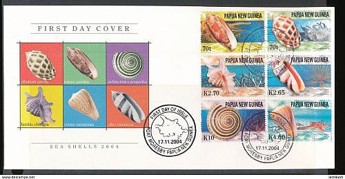 Papua New Guinea 1148-1153 2004 Marine Sea Shell Wildlife day issue cancel creasing