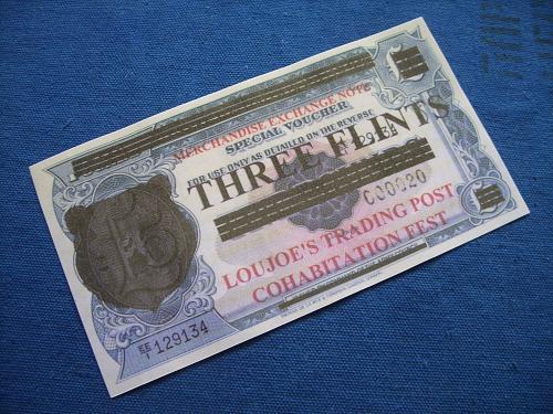 5 pounds overprinting THREE FLINTS,fantasy banknotes/laminated