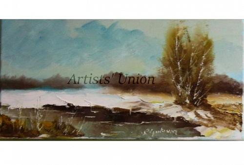 Winter Original Oil Painting River Landscape Tree Impasto Field Countryside Offer