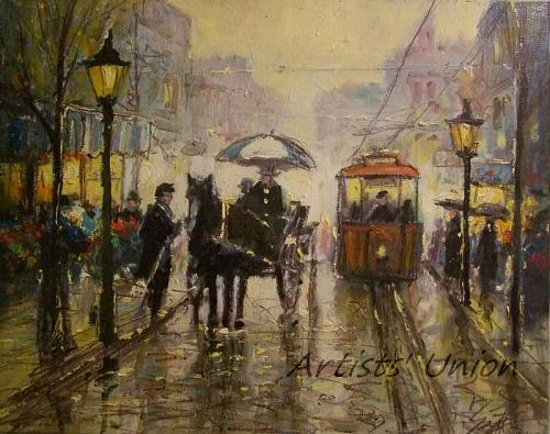 Rain Cityscape Original Oil Painting Old Town People Figurative Red Tram Cab Umbrella