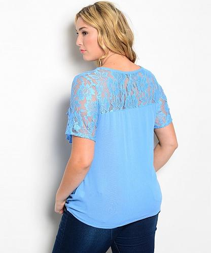 Women Tiered Top Blue Lace Yoke Scoop Neck Short Lace Sleeves Size 2XL Blouse