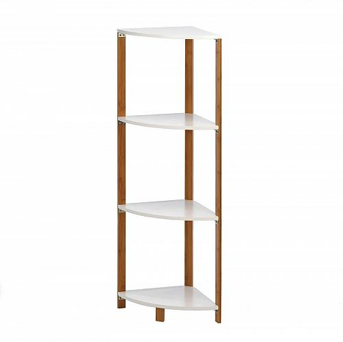 *16085U - Bamboo & MDF Wood Triangle Corner Shelf