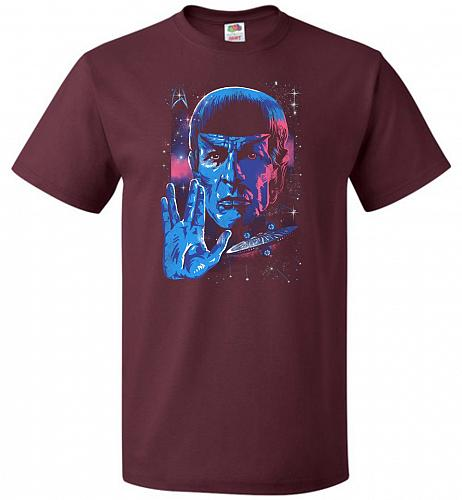Live Long And Prosper Unisex T-Shirt Pop Culture Graphic Tee (S/Maroon) Humor Funny N