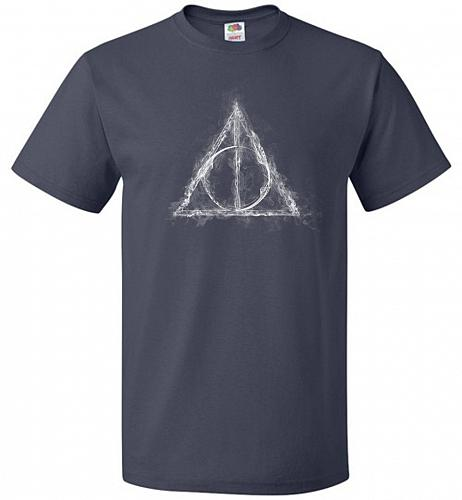 Deathly Hollows Unisex T-Shirt Pop Culture Graphic Tee (2XL/J Navy) Humor Funny Nerdy