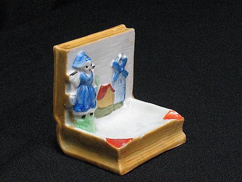 Porcelain Dutch Girl Windmill Book Figural Ashtray Snuffer Vintage Japan Vintage