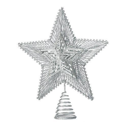 *18483U - Silver Star Glitter Finish Metal Tree Topper