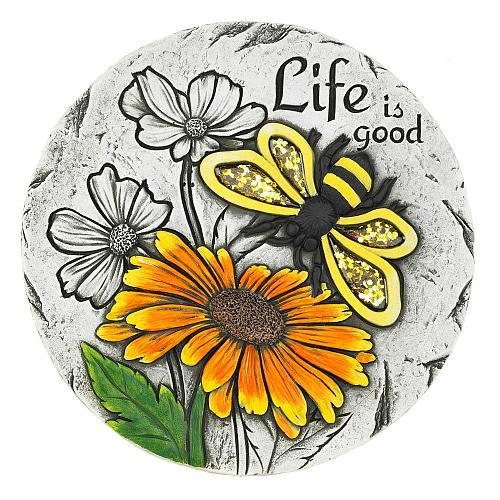 "*18535U - Life Is Good Sunflower Bee 10"" Cement Garden Stepping Stone"