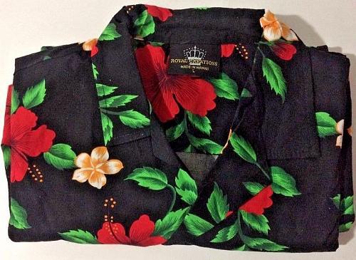 Royal Creation Hawaiian Aloha Shirt L Black Floral Red Hibiscus Plumeria Flowers