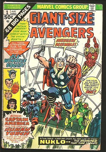Giant-Size Avengers #1 Marvel Comics 1974 Thomas Buckler NUKLO All Winners Squad