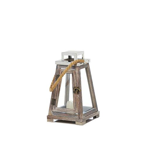 "*18176U - Small 10"" Pyramid Wooden Pillar Candle Lantern w/Rope"