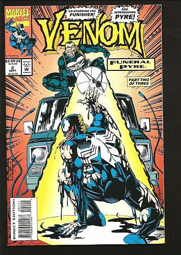 VENOM #2 NM- Funeral Pyre PUNISHER 1993 Marvel Comics Lyle Milgrom Potts