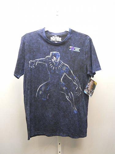 MARVEL BLACK PANTHER Mens Graphic T-Shirt Size L 42-44 Navy Short Sleeve