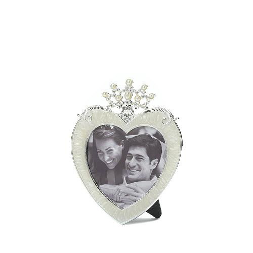 *16950U - Crown On Heart Pewter & Glass Easel Back Photo Frame Holds 3x3