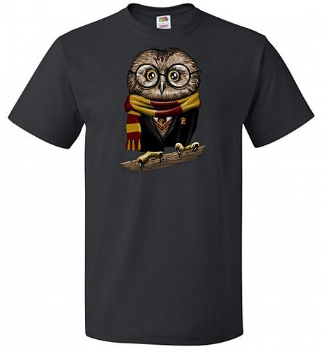 Owly Potter Unisex T-Shirt Pop Culture Graphic Tee (L/Black) Humor Funny Nerdy Geeky
