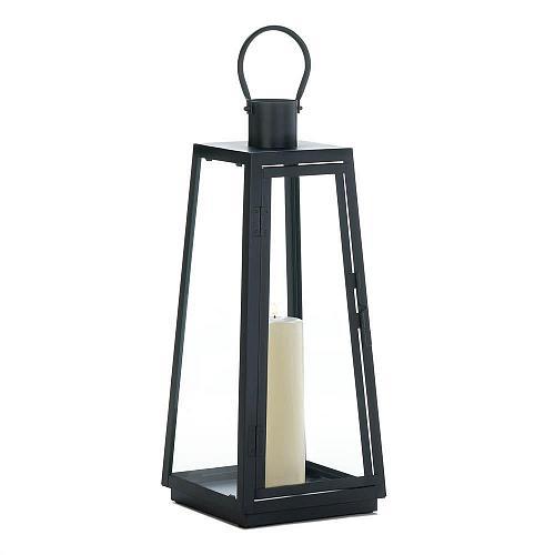"""*18348U - Large 20"""" Black Iron Exploration Pillar Candle Lantern"""