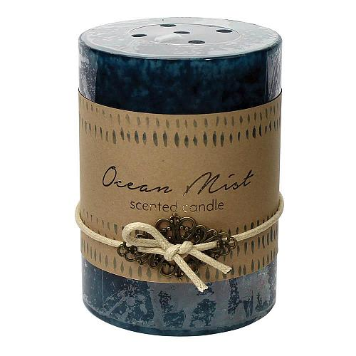 :10924U - 2ct Ocean Mist Scented Tri-color Blue Pillar Candle 3x4
