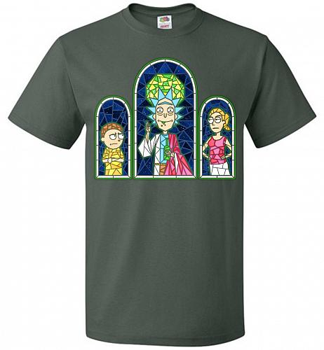 Rick And Morty Stain Glass Unisex T-Shirt Pop Culture Graphic Tee (4XL/Forest Green)