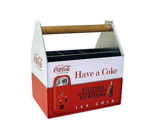:10596U - Coke Coca-Cola Steel Utensil Holder Caddy Organizer Wood Handle