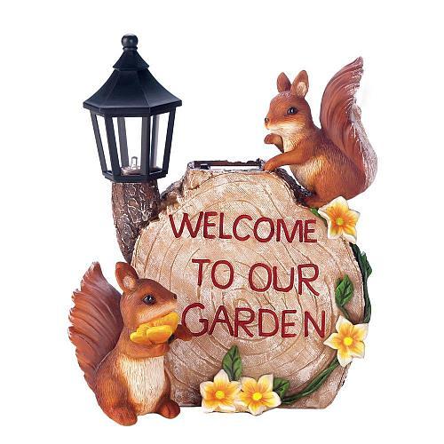 *18203U - Solar Welcome To Our Garden Squirrels Figure Lamp Yard Art