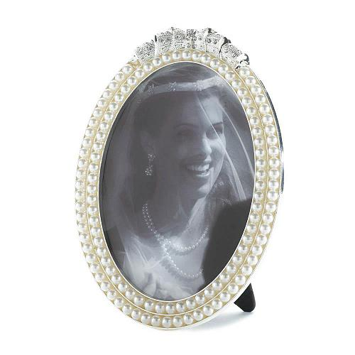 *16932U - Strands Of Pearl Oval Photo Frame Holds 5x7
