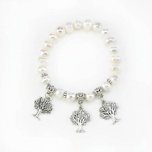 :11027U - Pearl Stretch Bracelet With 3 Tree Charms