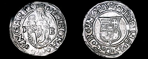 1543-KB Hungary 1 Denar World Silver Coin - Madonna with Child - Ferdinand I