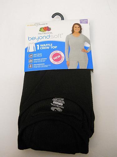 Womens Warm Underwear Crew Neck Top Performance Baselayer Solid Black Size 2XL