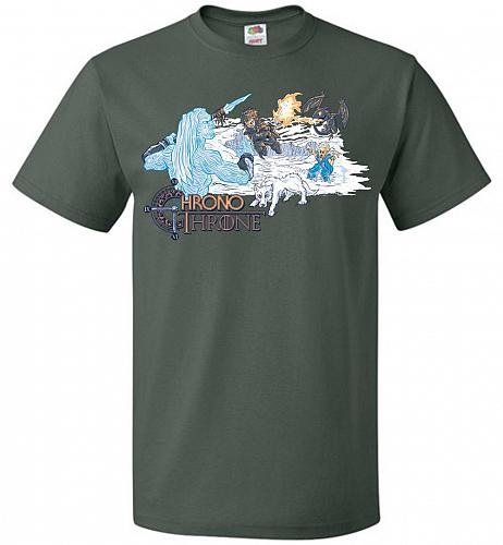 Chrono Throne Unisex T-Shirt Pop Culture Graphic Tee (S/Forest Green) Humor Funny Ner