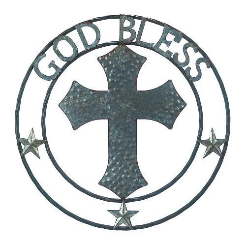 "*18363U - Galvanized 24"" Round Cross God Bless Art Sclupture Wall Decor"