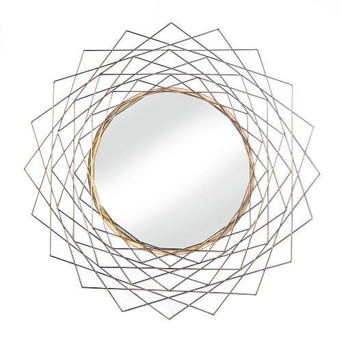 "*18488U - Golden Geometric 24"" Frame Round Hanging Wall Mirror"