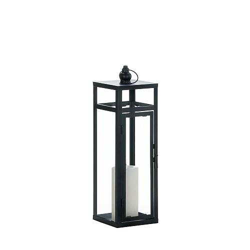 "*18345U - Black Iron 17"" Dramatic Geometry Pillar Candle Lantern"