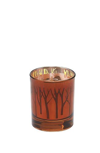:10753U - Woodland Trees Pumpkin Souffle Scented Votive Candle Glass Cup