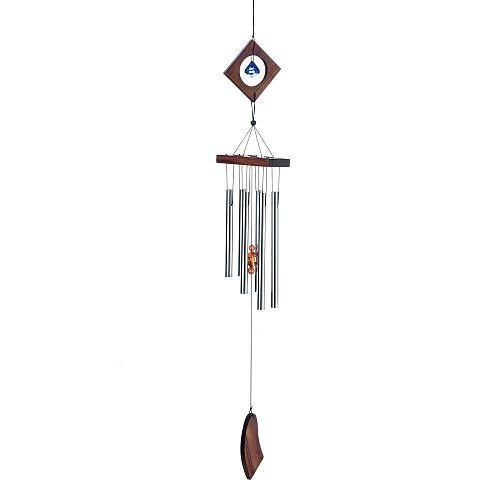 """:10956U - 35"""" Diamond Pine Wood Blue Baubble Aluminum Wind Chime"""