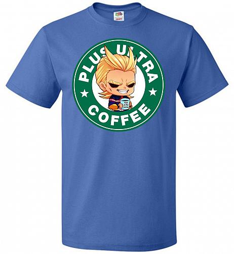 Plus Ultra Coffee Unisex T-Shirt Pop Culture Graphic Tee (L/Royal) Humor Funny Nerdy