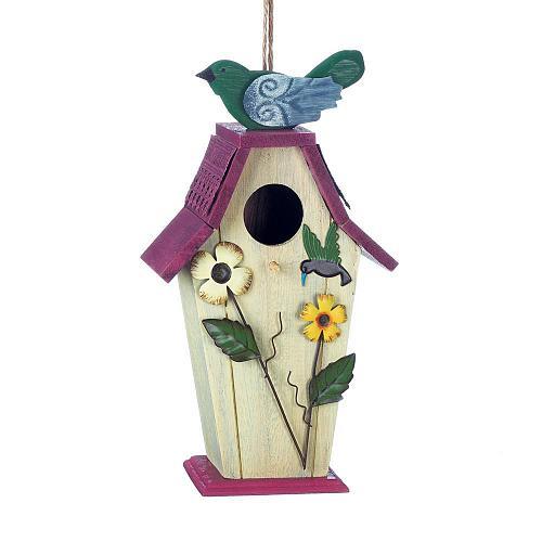 *18425U - Flower Birdie Hummingbird Wood & Iron Birdhouse