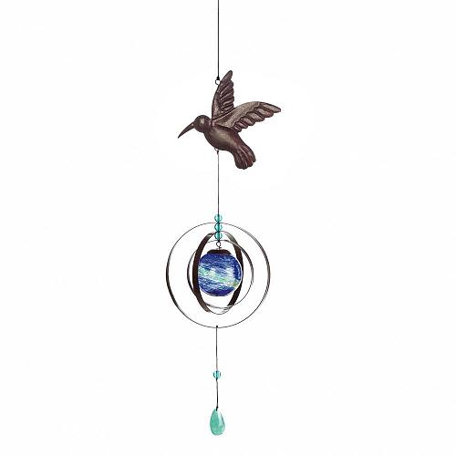 *18161U - Glow In The Dark Glass Bauble Hummingbird Wind Spinner