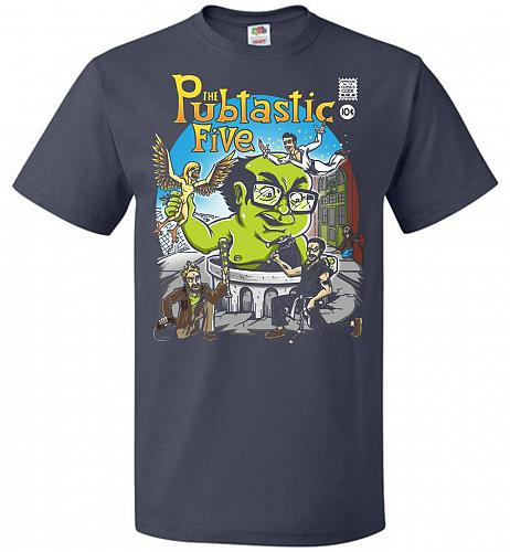Pubtastic Five Unisex T-Shirt Pop Culture Graphic Tee (S/J Navy) Humor Funny Nerdy Ge
