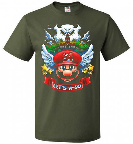 Retro Mario 64 Tribute Adult Unisex T-Shirt Pop Culture Graphic Tee (6XL/Military Gre