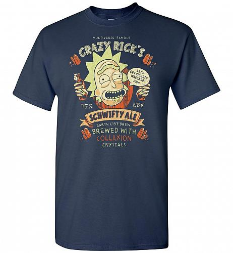 Crazy Rick's Schwifty Ale Unisex T-Shirt Pop Culture Graphic Tee (3XL/Navy) Humor Fun