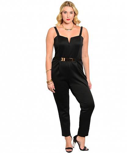 Women Jumpsuit Solid Black Blue Size 1XL 2XL 3XL Spaghetti Straps Straight Legs