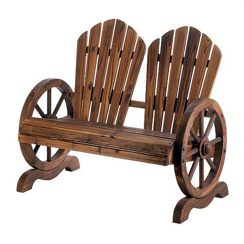 *18438U - Adirondack Wagon Wheel Loveseat Couple Garden Chair