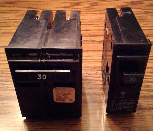 Lot of 2: Crouse Hinds HACR Type Circuit Breakers :: 30A 2P + 20A 1P :: FREE Shipping